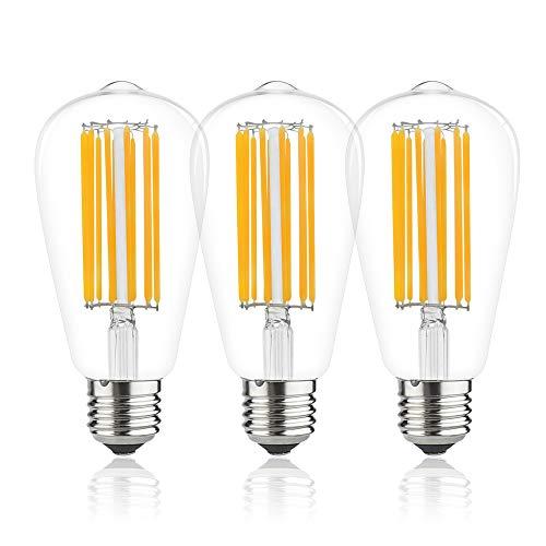 Lampadina a Filamento a LED ST64 E27 da 12W [3-Pacco], Bonlux Bianco Calda 2700K Vite di Edison ES Vintage Stile Della Gabbia, 100W Lampadina a Incandescenza Equivalente Non Dimmerabile