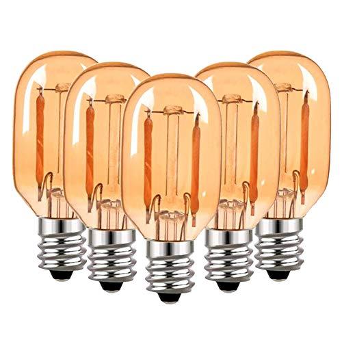 Lampadina a filamento T22 LED Lampadina tubolare Edison vintage in vetro ambra Lampadina E14 220V, Lampadine bianche ultra calde 2200K equivalenti a 10 Watt, 100 lumen non dimmerabili, confezione da 5