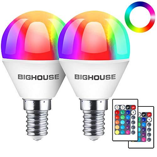 Lampadina a goccia E14 RGBW a forma di goccia, dimmerabile e controllo del colore tramite telecomando, 4 W, E14, luce bianca calda (3000 Kelvin), sostituisce 35 W, confezione da 2