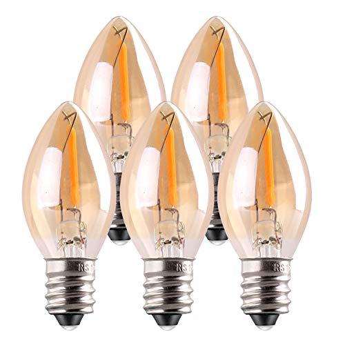 Lampadina a LED C7,Lampadine a candela con luce da 0.5W Lampadina a incandescenza decorativa E14 Lampadina a filamento a LED con candelabro Ultra Warm White 2200K confezione da 5 pezzi
