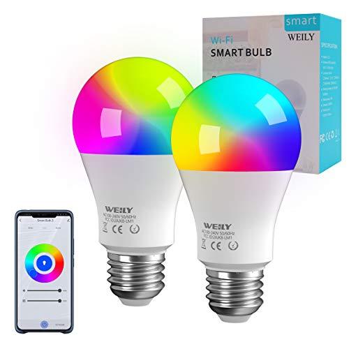 Lampadina Alexa LED E27 WiFi, WEILY Lampadine Alexa Intelligenti 9W LED Cambia colore lampadina E27 LED Compatibile con Alexa,confezione da 2[Classe di efficienza energetica A +++]