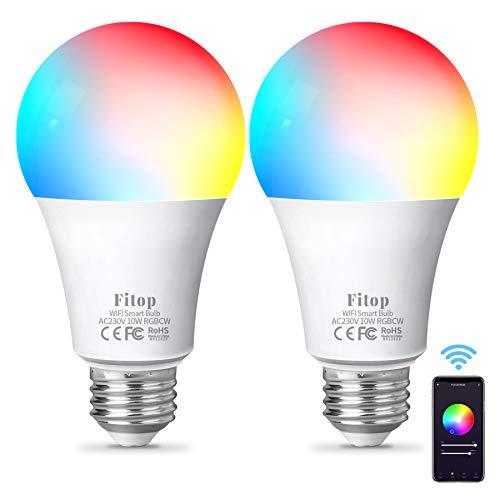 Lampadina Alexa WiFi E27,Fitop Lampadine Smart LED 10W 1000LM 90W Equivalente,Dimmerabile RGBCW Colore Cambiano Lampadina 2200K-6500K Bianco Freddo Caldo,Compatibile con Alexa/Google Home/Siri,2 Pezzi