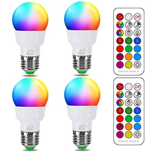 Lampadina Colorata LED, Equivalente 40W, E27 12 Colore RGB 5 Watt Bianco Caldo (2700K) Edison Telecomando (Confezione da 4)