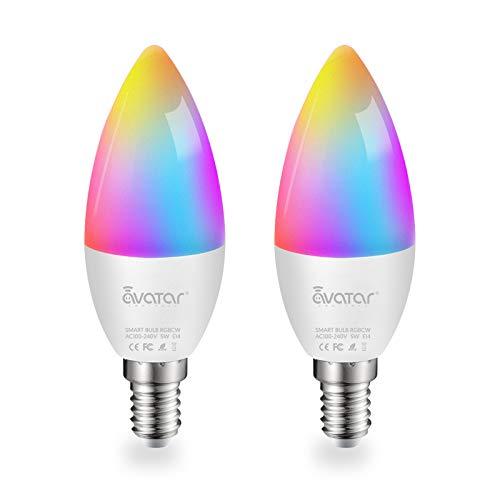 Lampadina E14 LED intelligente WiFi & Bluetooth C37 5 W 500 lm dimmerabile, 2700 K-6500 K RGB e 16 milioni di colori, controllata tramite app, compatibile con Alexa e Google Home, 2 pezzi
