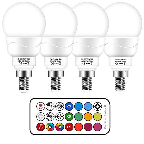 Lampadina E14 LED RGBW con Telecomando | 5W equivalenti a 50W | 12 Colori Cambianti Colore Lampadine | Luce Bianca Freddo 6000k (Pacco da 4)