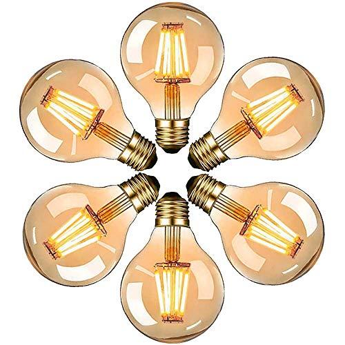 Lampadina Edison Vintage E27 a LED, lampadina decorativa anticata, G80, 6 W, luce bianca calda, 2700 K, vetro ambrato, ideale per l'illuminazione nostalgica e retrò, classe energetica A +, 6 pezzi