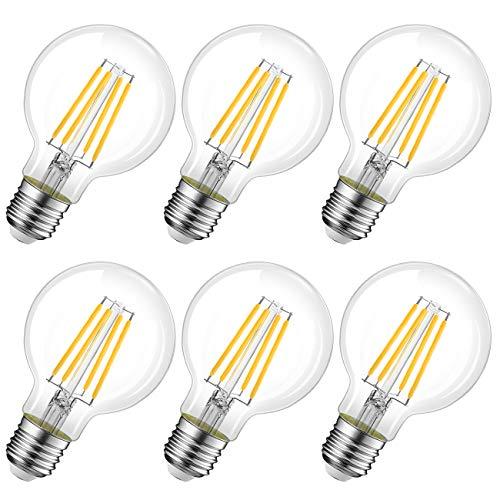 Lampadina LED Attacco E27, 8W Equivalenti 60W, 806lm, 2700K Luce Bianca Calda, LVWIT G80 Globo, Lampadine LED Filamento, Pacco da 6 Pezzi