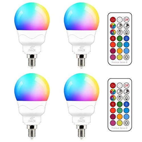 Lampadina LED E14, 5W (equivalenti a 40W) Colorate RGBW RGB 2700K Sfera Luce Bianca Calda Dimerabile Cambiare Colore Lampadina Multicolore con Telecomando (Pacco da 4)