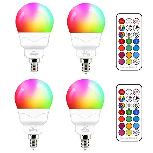 Lampadina LED E14, 5W (equivalenti a 40W) Colorate RGBW RGB 5700K Sfera Luce Bianca freddo Dimerabile Cambiare Colore Lampadina Multicolore con Telecomando (Pacco da 4)