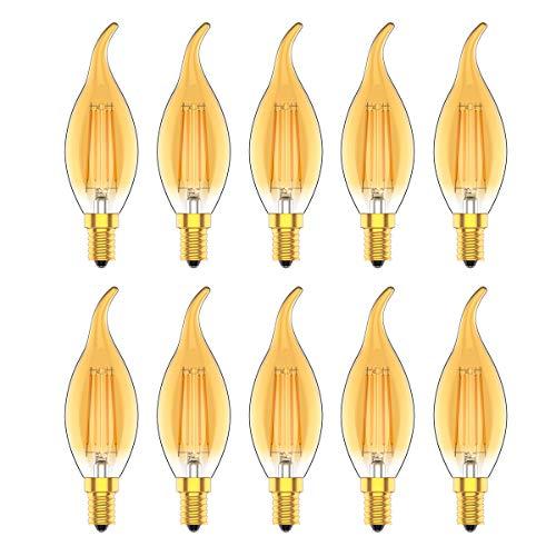 Lampadina LED E14 Candela Filamento Vintage, 4W equivalenti 30W, 2700K Luce Calda, Retro Edison, Non Dimmerabile,10 Pezz