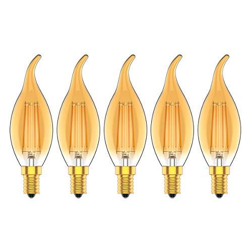 Lampadina LED E14 Candela Filamento Vintage, 4W equivalenti 30W, 2700K Luce Calda, Retro Edison, Non Dimmerabile,Pacco da 5 Pezz