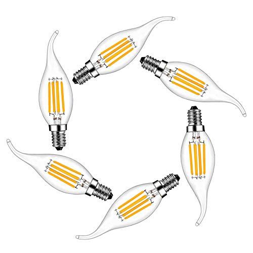 Lampadina LED E14 Candela,MENTA Lampadina Filamento LED E14 4W equivalente a 40 W, Lampada LED Candela Bianca Caldo 2700k,400lm,360 Angolazione Fascio Luce,6 Pezzi