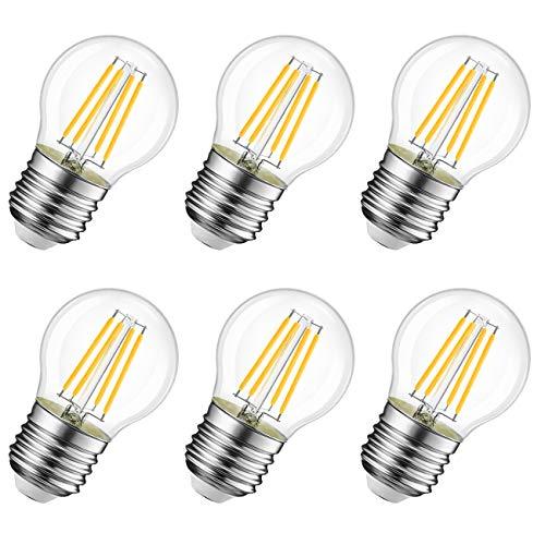 Lampadina LED E27 a Filamento - 4W Equivalenti a 40W, Luce Bianca Calda 2700K, 470Lm, LVWIT Forma G45, Non dimmerabile - Pacco da 6