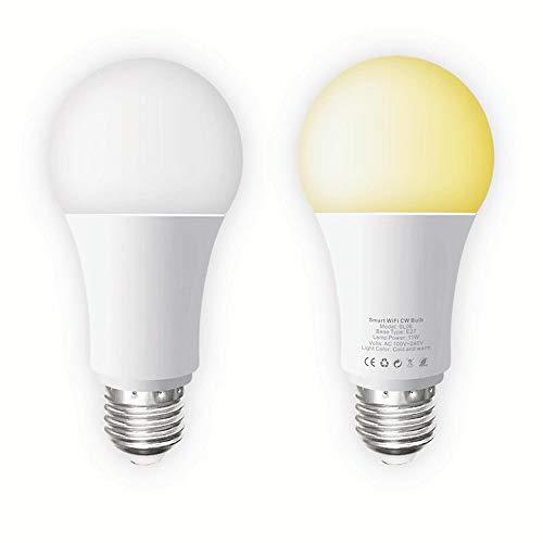 Lampadina LED Intelligente E27, Lampadina Smart WIFI 11W 1000 LM, Compatibile con Alexa e Google Home, Lampadina Dimmbable 2700k-6500k, Lampadina con Telecomando 2 Pack