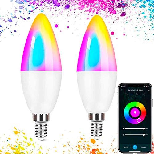 Lampadina LED intelligente Wfi E14, luce calda regolabile, multicolore, confezione da 2, lampadina intelligente Wi-Fi E14 Si Smart, compatibile con Alexa, Google Home Smart Wi-Fi LED, app Smart Life