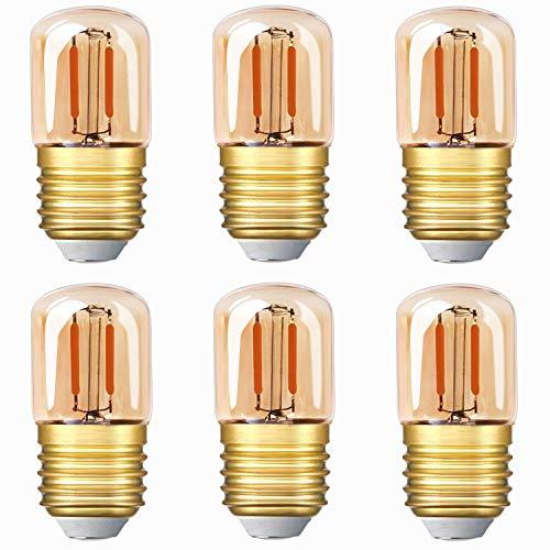 Lampadina LED tubolare Genixgreen Mini, lampadina a filamento LED Edison T28 da 1W E27 Base a vite Lampadina bianca super calda 2200K per decorazione non dimmerabile (vetro ambrato) 6 pezzi
