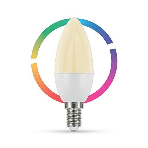 Lampadina Qnect Wifi Smart E14, 4.5W, RGB + Warm White 2700K, compatibile con Alexa e Google Home