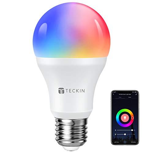 Lampadina Smart Con Luce Soffusa 2800k-6200k+Rgbw, TECKIN E27 Wifi Multicolore Compatibile Con Cellulari, Google Home, 7.5W, 1 Pezzo [Classe di efficienza energetica A]