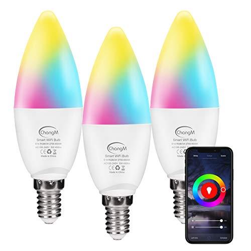 Lampadina Smart E14 WiFi candela, lampadine Alexa 5W, luce bianca calda 3000K+RGB che cambia colore, compatibile con Alexa, Google Home, confezione da 3 (2,4 Ghz solo)