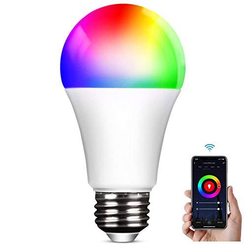 Lampadina WiFi E27 Lampadine LED Alexa Intelligence,2800k-6000k, RGB 9W Wifi 2.4Ghz Regolabile Multicolore Light Telecomando Controllo di gruppo Compatibile con Alexa Google Home