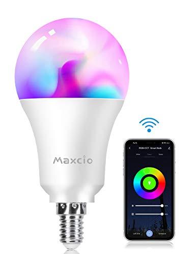 Lampadina Wifi Intelligente, Maxcio Lampadina Led Dimmerabile, Colorata [ E14 9W RGB+W], Accesso Remoto, con Funzione di Temporizzazione,Più Luminoso, Compatibile con Amazon Alexa e Google Home-1 pack