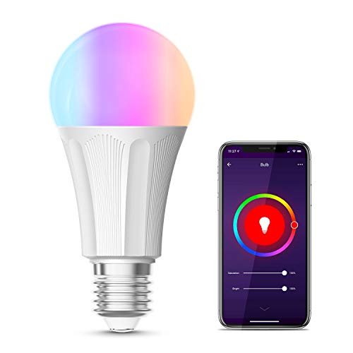 Lampadina Wifi Smart, Maxcio Lampadina Led Dimmerabile, Colorata [ E27 9W RGB+W],Funzione Timer,Più Luminoso, Compatibile con Amazon Alexa e Google Home[Classe di efficienza energetica A]-1 pack