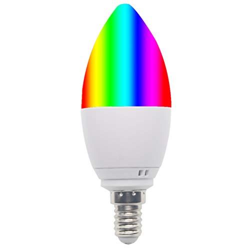 Lampadine a candela E14 a vite piccole a LED, compatibili con Alexa, Google Home e IFTTT, per cucina, camera da letto, soggiorno, 6000 K + lampadina LED RGB – 30.000 ore Lifespa
