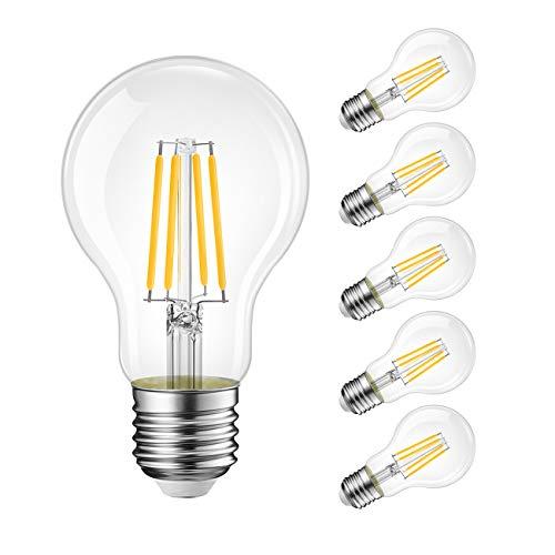 Lampadine di filamenti a LED, 8W Equivalenti a 75W, 1055LM, 2700K Bianco Caldo, Attacco E27, Stile Vintage Retrò, Non Dimmerabile, Confezione da 6 Pezzi