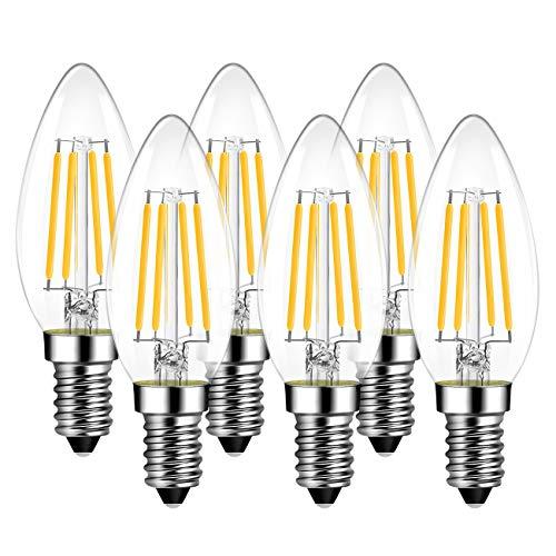 Lampadine filamento a LED E14, LVWIT C35, 4W Equivalenti a 40W, 470LM, Luce Bianca Fredda 6500K, Forma a Candela, Vetro Vintage LED, non dimmerabile, Confezione da 6 Pezzi