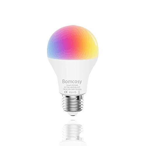 Lampadine Intelligente Wifi E27 A60 LED RGBCW 7W Multicolore Dimmerabile Compatibile con Alexa e Google Home Dispositivo IOS Android App Controllata Non Richiede Hub 1 Pezzi