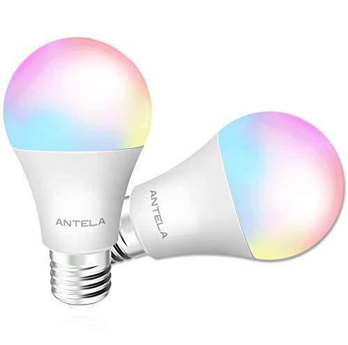 Lampadine LED Alexa Smart WiFi E27, lampadine ANTELA Smart 9W 806ML 80W equivalente, lampadina dimmerabile RGBCW 2700K-6500K bianco freddo caldo, compatibile con Alexa / Google Home, 2 pezzi
