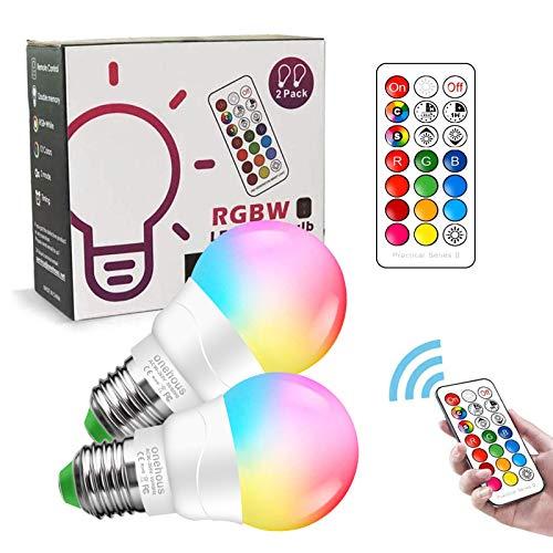 Lampadine LED E27, Telecomando Lampadine Colorate LED RGBW Cambiare Colore 6W (Equivalente 40W), Multicolore Dimmerabile Lampadine 2700K