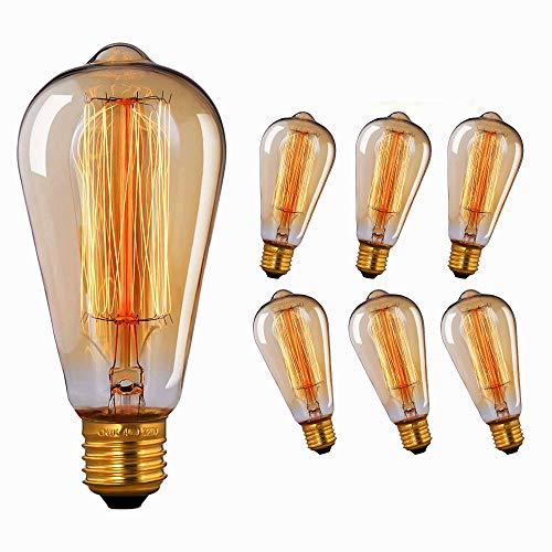 Lampadine vintage 40W, E27 Lampadina Edison Vintage Dimmerabile Lampada ST64 Retro Filamento Lampade Decorativa Globo Bianco Caldo, 6 Pezzi