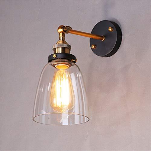 Lampop Applique da Parete Interno Vintage Lampada da Muro Industriale Stile Edison Retro Paralume in Vetro Attacco E27 40W (Senza Lampadina)