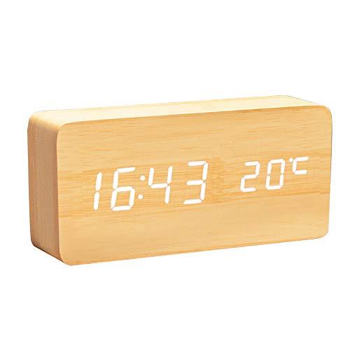 Lancoon Orologio Digitale In Legno - Sveglia A Led Multifunzione Con Indicazione Di Ora/Data/Temperatura E Controllo Vocale Per I Viaggi In Ufficio - AC11Yellow_White