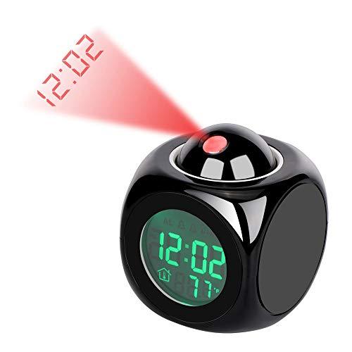 Lancoon Sveglia Di Proiezione - Orologio Da Tavolo A Led Con Design Carino, Schermo Grande, Display Tempo/Temperatura/Allarme/Snooze - AC05