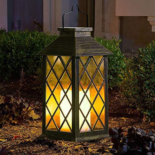 Lanterna da Giardino Solare da Esterno, Lanterna Sospesa di Halloween LED Lanterna a Fiamma Senza Fiamma Tremolante in Plastica con Decorazione di Illuminazione Impermeabile e ad Energia Solare