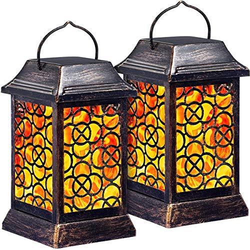 Lanterna solare a forma di fiamma tremolante in metallo per esterni, ad alte prestazioni, impermeabile, con ombrello a LED, per giardino, terrazzo, ponte, yard, confezione da 2