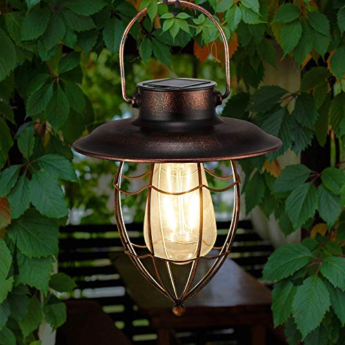 Lanterna solare da appendere, in metallo, decorativa, da giardino, con lampadina Edison, impermeabile, a energia solare, per veranda, vialetto, patio, cortile (parte inferiore affilata).