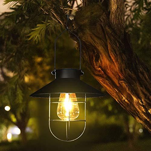 Lanterna solare da appendere, luci solari da giardino all'aperto con ganci da pastore, luci da tavolo decorative a energia solare, colore: nero