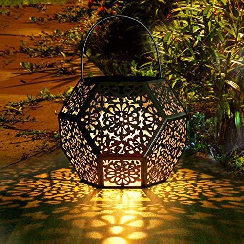 Lanterna Solare da Giardino GolWof Lanterna Solare LED Lanterna Solare Luci Solari Esterno Decorative Luce Solare da Esterno per Patio Fuori Lampada a Forma di Diamante - Argento