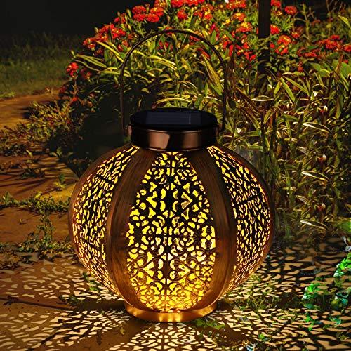 Lanterna Solare da Giardino GolWof Lanterna Solare LED Lanterna Solare Luci Solari Esterno Decorative Luce Solare da Esterno per Patio Fuori Lampada Esagonale - Oro