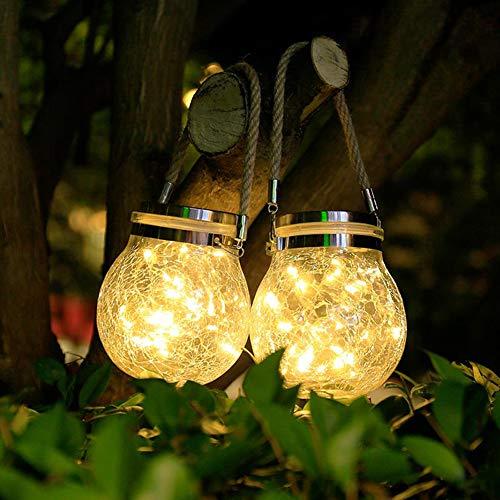 Lanterna Solare Esterno, 2 Pezzi LED Lampade In Vetro Impermeabile Luce Solare Giardino Decorazione per Interno ed Esterno, Giardino, Feste, Natale(Bianco caldo)