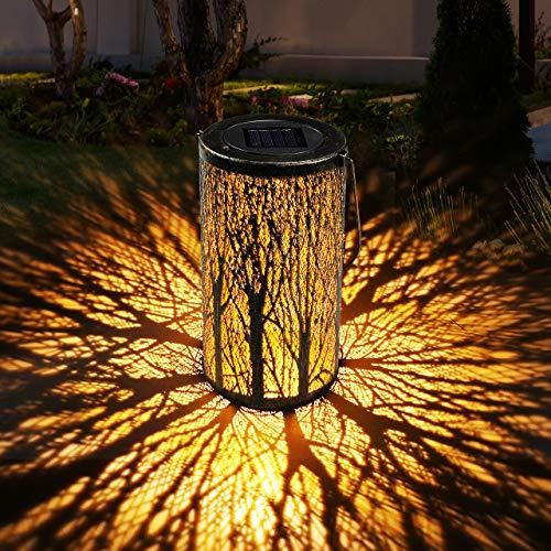 Lanterna Solare Esterno GolWof Lampada da Giardino Impermeabile LED Luci Solari Sospensione Illuminazione Solare Retro Decorativo Lanterna per Esterni Patio Aperto Giardino Cortile Passerella