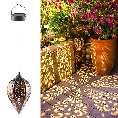 Lanterna Solare Giardino, LED Lanterna Solare Esterno, Lanterne Solare Sospesa Impermeabile Vintage Lampada Decorativo per Esterno Patio, Prato, Giardino, Cortile Passerella