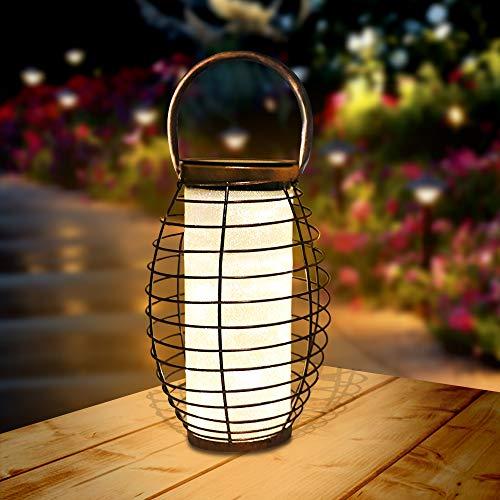 Lanterna Solare Giardino LED Lanterna Solare Esterno Vintage Luce Bianco Caldo Luce Solare Giardino Impermeabile Lanterna Lampada Solare Luci Decorativa per esterni lanterna 1 Pack
