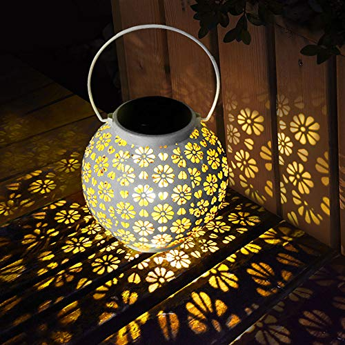 Lanterna Solare, Lanterna Solare da Giardino Impermeabile LED Solare Luci Lampada da Giardino in Metallo Luce solare per Feste Cortile Passerella Balcone