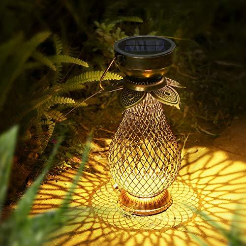 Lanterna solare per esterni, a LED, retrò, dipinta a mano, lampada solare da giardino, lanterna solare da appendere con IP44 impermeabile, lampada da tavolo solare come decorazione (metallo)