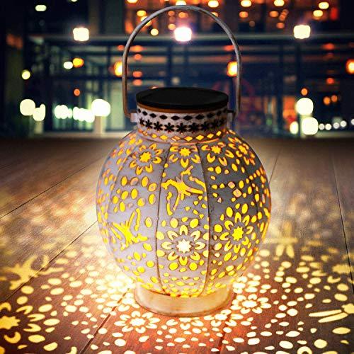 Lanterna solare per ornamenti da giardino Lanterna solare a LED con luci solari sospese impermeabili e antiruggine Lanterna per esterni Decorazione da giardino per portico, cortile, prato,cortile
