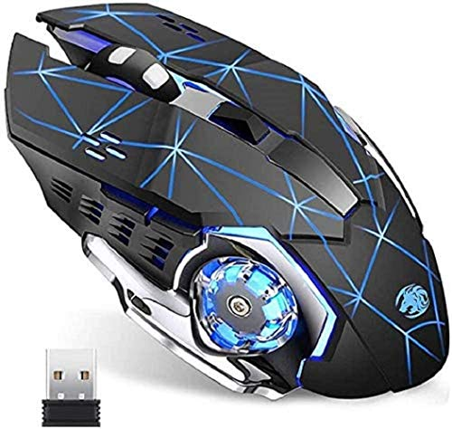Lasuki Mouse Wireless da Gioco Mouse Ricaricabile Wireless da 2400 DPI Ottico USB Gaming Mouse Silenzioso Senza Fili con 6 Pulsanti con LED 7 Colorspulsanti per PC/Laptop/MacBook